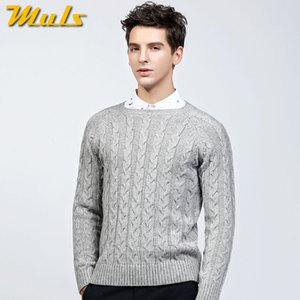 Muls laine mens pulls épais O cou modèle de haute qualité chandail hommes automne hiver noir gris jersey masculin MS8926
