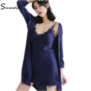 Smmoloa Frauen Sexy Silk Satin Nachthemd und Robe Nachtwäsche Nachthemden