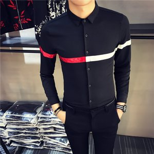 2017  New Men Fashion Casual Long Sleeved Shirt Autumn Winter Hot Sale Striped Mens Shirts Long Sleeve Slim Fit Shirt Men