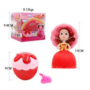 6 pçs / caixa 15 cm Mágico Cupcake Princesa Boneca Com Pente Perfumado Bolo Reversível Transformar a Princesa Boneca Meninas Brinquedos