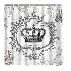 Luxurysmart Royal Crown Tela blanca Baño Cortina de ducha Revestimiento con ganchos Poliéster impermeable cortina de baño tela de baño