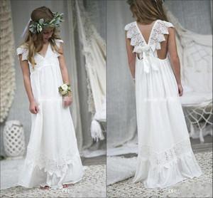 2018 Bohomia Flower Girl платья для свадеб дешевые V шеи шифон кружева ребенок Причастие формальные пляж свадебные платья девочек Детская одежда BA7623