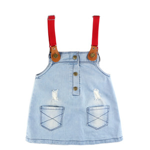 New Brand Children Clothing Fall Girls Dresses School Kids Clothes Baby Girl Fashion Denim Casual Diamond Strap Girls Dress
