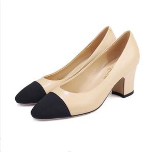 Обнаженная обувь элегантный стиль светло-цветные туфли на высоком каблуке грубый и классический абрикос повседневная обувь Женская натуральная кожа