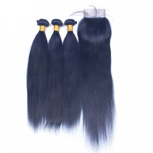 3Bundles de cheveux humains raides bleu foncé avec la fermeture de dentelle Les cheveux bleus de couleur pure tresse des trames avec la fermeture de dentelle 4x4