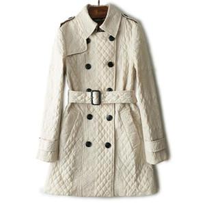 Mujeres invierno doble botonadura noble rompevientos clásico enrejado del diamante moda de lujo correa de la marca sexy bordado patrón de algodón