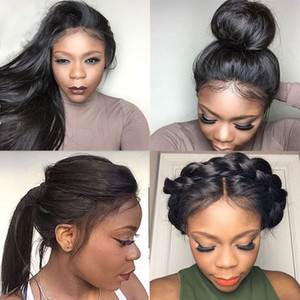 Brazilian Silky Straight Lace Front Human Hair Wigs For Black Woman 150 Density Glueless Full Lace Wigs with Baby Hair Natural Hairline