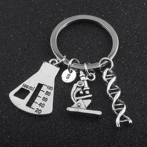 SG 2018 Newest Biological Experimental Tool Key Chains Conical Flask Molecular DNA Microscope Pendant Keychain