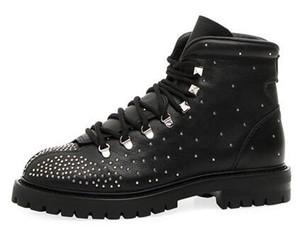 Ботинки для походов из кожи Dewstuds Кожаные походные ботинки из телячьей кожи со всеми микрошариками в градиенте с укороченной пяткой на платформе Круглый носок