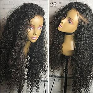 Venta al por mayor la mejor calidad negro largo rizado rizado pelucas baratas con el pelo del bebé resistente al calor sin cola sintética pelucas delanteras del cordón para las mujeres negras