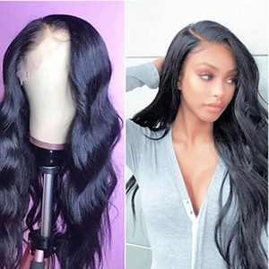 Sweetheart High Temperature Fiber Natural Hairline Synthetic Lace Front Wigs Black Color Long Wavy Wigs For Women Side Part 180% Density