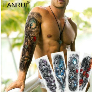 Army Warrior Soldier Black tatuaggio temporaneo adesivi per uomini Full Body Art braccio manica tatuaggio 48 * 17cm grande impermeabile Tatoo Girl