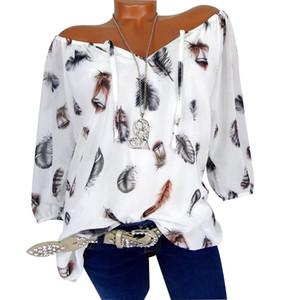 Moda Feather con cordones de media manga de las mujeres de verano camiseta suelta ocasional Top plus size 5XL