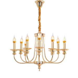Modern Luxury Vintage Design E14 Iron Champagne Gold Led Chandelier Lighting Fixtures for Home Loft Staircase Living Room Bedroom Lamp