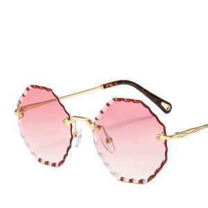 Gato retro rimless óculos redondos Onda aparamento Sunglasses Eyewear óculos de sol Shades fêmea com caixa de FML
