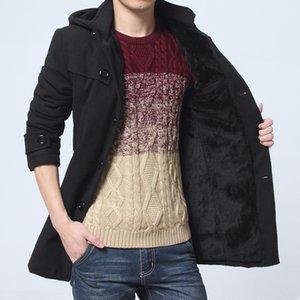 2018 coreano inverno giacche uomo addensare mens cappotto di lana con cappuccio velluto caldo uomo lana lungo cappotto maschile lungo trench coat uomo