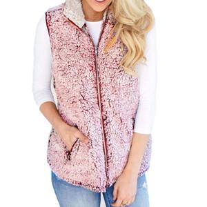 Wholesale-Womens 조끼 겨울 따뜻한 Outwear Casual Faux 모피 우편 업 Sherpa Jacket
