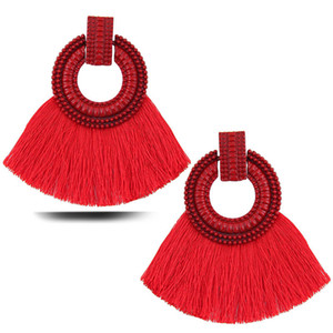 2021 Fashion Boho For Women Temperament Stud Tassel Earrings Circle Pendant Statement Jewelry Gift Ear Accessories