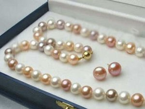 Echte 8-9 MM Weiß / Rosa / Lila Natürliche Akoya-zuchtperlen Halskette + Ohrringe