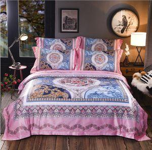 Boho set di biancheria da letto in seta jacquard regina king size 4 pezzi Royal Luxury copripiumino federa stampa digitale Tessili per la casa
