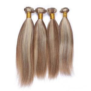 # 8/613 Klavier Farbe Brasilianisches Menschenhaar Extensions Gerade Doppel Wefted Virgin Haarspangen Highlight Mixed Piano Farbe 4 Bündel Angebote