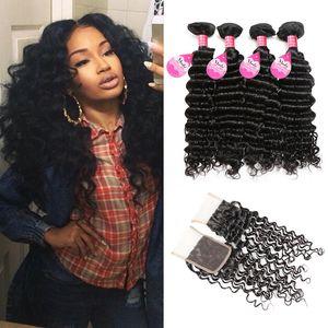 Норковые волосы 8A перуанская глубокая Волна 4 пучка с закрытием купить дешевые бразильские Малайзийские индийские человеческие волосы плетения пучки с закрытием оптом