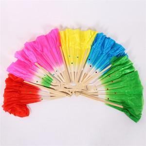 Abanico de baile Dos lentejuelas cónicas hechas a mano Abanicos de seda cuadrado Mujeres de la danza favorece la decoración del hogar de colores 3 80zb gg