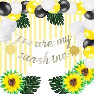 Sie sind mein Sonnenschein-Thema-Partydekorationen Baby Shower Kids 1st Birthday Party Supplies Banner Pompons Blume tropische Blätter