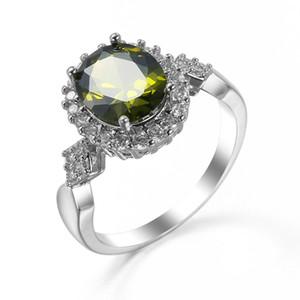 Anello di nozze placcato in argento sterling 925 con zirconi cubici di oliva rotondi regalo di San Valentino 3PCS / LOT