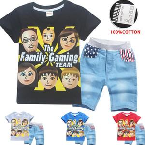 TEAEGG Cartoon Roblox Fgteev Imprimé à manches courtes Filles Garçons T-shirt 2pcsJean Pants Family Gaming Team 2018