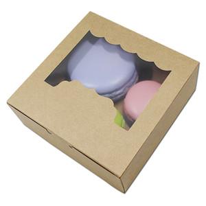 2 tamaños de cajas de embalaje de alimentos para hornear blancos / marrones Favor de fiesta Galletas de Kraft Cajas de papel de almacenamiento de galletas Caja de regalo de bombones