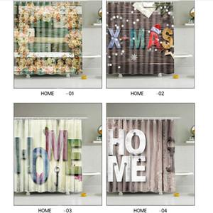 Bois Accueil Poliban étanche résistant à la moisissure Vieille salle de bains en bois Décor de Noël Hooks salle de bains décor 180 * 180cm