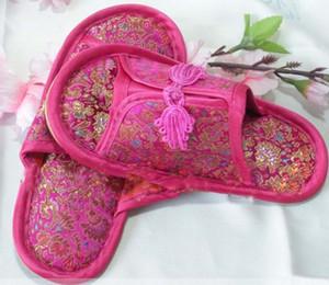 Nudo chino Seda Satén Niños Zapatillas Parte inferior de goma Zapatilla de interior para el hogar 1 par