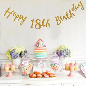 Oro Happy Birthday Bunting Banner 18th 21st 30th 40th Decorazione del partito con corda