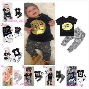 40 stil baby jungen mädchen sets ins Fox streifen brief anzüge kinder infant casual kurzarm t-shirt + hosen 2 stücke sets neugeborenen pyjamas