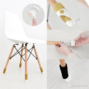 Dibujos animados de punto de gato garra silla cubierta de pie colorido kawaii diseño antideslizante patas de tabla protector de manga para decoraciones del hogar 0 99qh zz