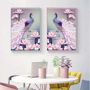 Wholesale 1 PCS 5D DIY Magnolia Peacock Diamond Painting Cross Stitch Embroidery Mosaic Picture Home Decor Free Shipping