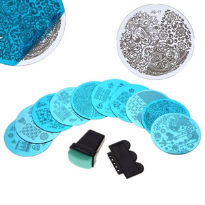 10 pcs Prego Stamper Placa Set Nails Art Stamp Estamparia Imagem Placas Raspador Manicure Template Kit Pedicure Ferramentas frete grátis