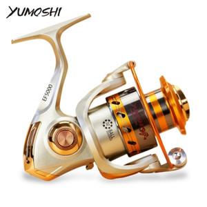 Yumoshi EF 1000-9000 Carretel De Pesca 12BB 5.5: 1 Carretel De Metal Fiação Carretilhas De Pesca Dobrável Alça Reel Europa Hot-selling