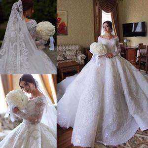 Custom Made luxo Lace vestido de baile vestidos de casamento Arábia Saudita fora do ombro manga comprida completa Lace Appliqued lantejoulas vestidos de noiva