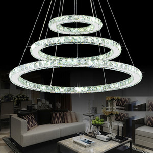 Modern Chrome Chandelier Cristales Anillo de diamante Lámpara colgante LED Acero inoxidable Lámparas colgantes Cristal ajustable LED Lustre
