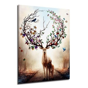 Modern Abstract Animal Oil Painting Nordic Elk High Quality Hand-painted Home Decor Wall Art On Canvas Multi sizes a133