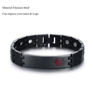 Black Titanium Stahl Benachrichtigungs-ID Magnet Germanium Gesundheit Armbänder Custom Name Armband für Mann-beiläufige modische Schmucksachen