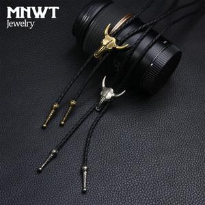 MNWT Moda Bolo için Kravat Unisex Bola Ayarlanabilir Deri Boğa Kafa Kafatası Halat Kravat Takı Deri Kadın Kazak Kolyeler