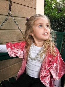 Bebés Meninas Pleuche manga curta casaco solto casaco capa 2-5T moda infantil poliéster veludo cardigan rosa
