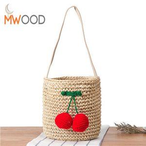 2018 Verano Famoso Diseñador Cherry Straw Bucket Bag Mujeres Pompom Tejido A Mano Bolso de Hombro Bolsa de Playa Chica Bolso Shopper Bolso D18102303