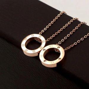316L Titane Acier Rose d'or à vis Cercle Colliers Pendentif pour les femmes d'argent en or 18 carats Collier rond avec diamant de mode Choker Bijoux