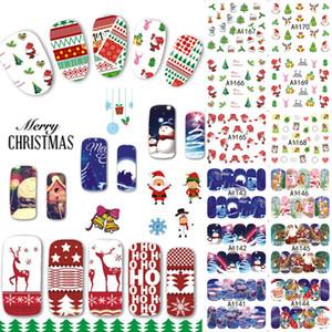 Wholesale-48 Designs/Lot Christmas Beauty Nail Sticker Set Cartoon Full Tip Decals DIY Xmas Tattoos Nail Art Decoration TRA1129-1176