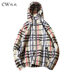 100% poliestere fibra 2018 primavera e autunno nuovi uomini casual griglia giacca con cappuccio uomo con cappuccio incantesimo colore cerniera giacca sottile cappotto