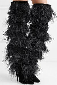 Borlas de encaje hasta mujer Cat Walk Show botas altas Botas negras sobre la rodilla Botas altas Otoño invierno Mujer Martin Sexy botas de tacón